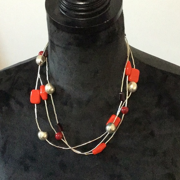Chico's Silver & Red Necklace